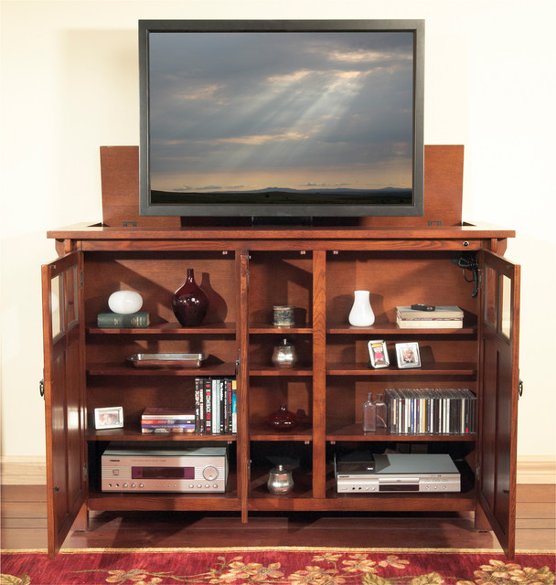 """Bungalow TV Lift Cabinet for flat screen TV's up to 55"""" - Contemporary - Entertainment Centers ..."""