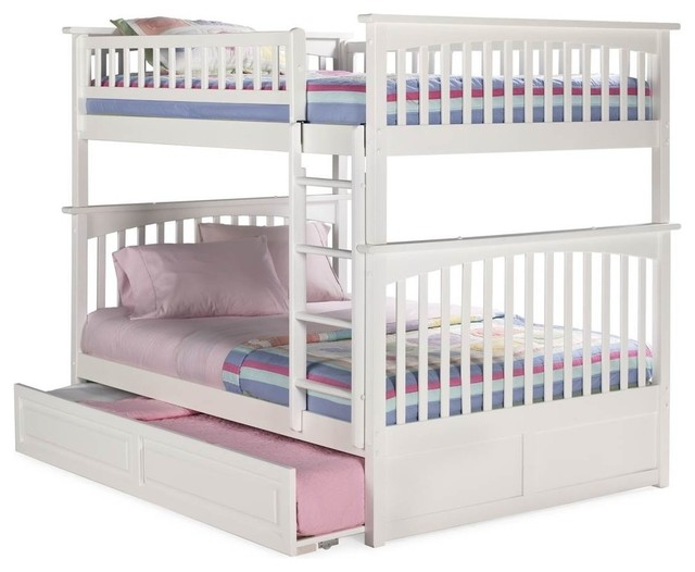 Columbia Full Over Full Bunk Bed Raised Panel Trundle