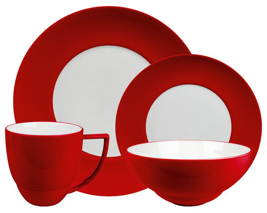 Waechtersbach - Uno 4-Piece Place Setting, Red - Add a pop of color to your table with this festive porcelain dinnerware. The place setting includes a dinner plate, salad plate, bowl and mug. The pieces are dishwasher safe, and mix easily with other patterns and colors for a casual, collected feel.