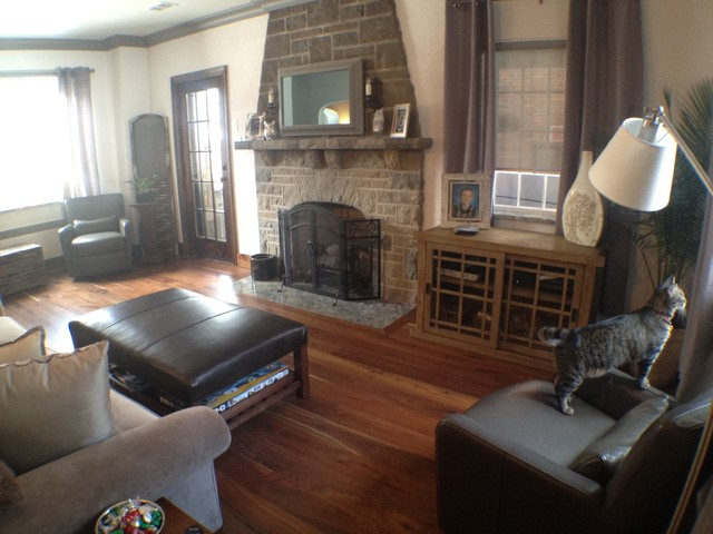 Dark hardwood floors traditional family room other for Family floors