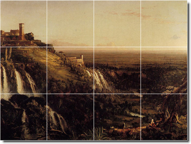 The Cascatelli Tivoli Looking Towards Rome Tile Mural By Thomas Cole traditional-tile
