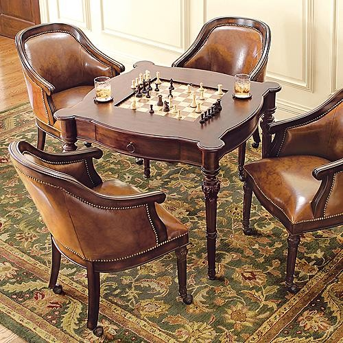 Freeman Game Table and Four Leather Chairs - Traditional ...