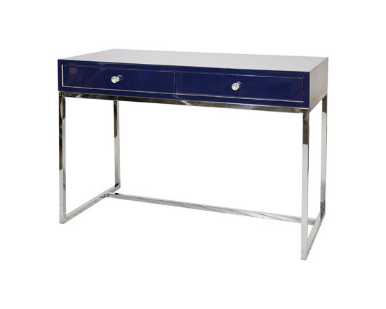 "Worlds Away - Worlds Away William Navy Lacquer Desk With Stainless Steel Base - ""Everything old is new again,"" as the song goes. This vintage navy lacquer desk with a stainless steel base is a midcentury modern take on a compact desk. Perfect for your laptop or tablet, this fits snugly in any office space or nook and won't hog real estate."