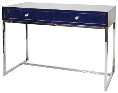 Worlds Away William Navy Lacquer Desk with Stainless Steel Base contemporary-desks