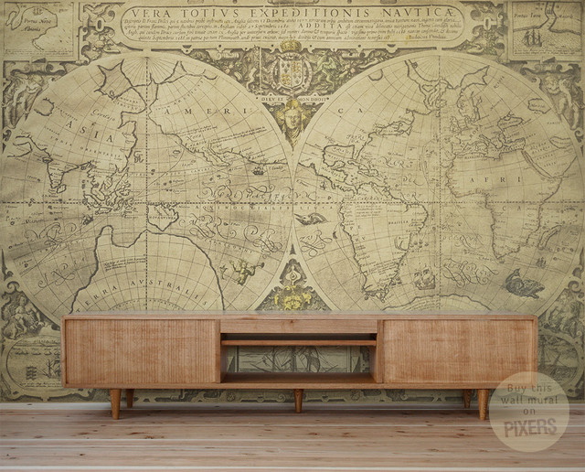 Vintage world map wall mural by pixers eclectic for Classic world map wall mural