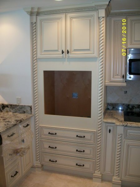 off white with glaze traditional kitchen cabinetry