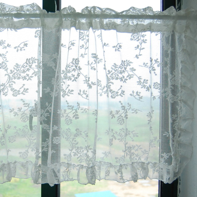 Lace kitchen window curtain bathroom curtain for Bathroom window curtains