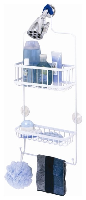 Over the Shower Caddy in White Flat Stock Met contemporary-shower-caddies
