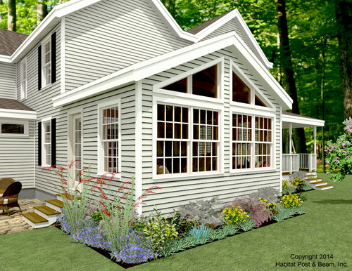 This 14'x16' living/sun room addition with a window wall featuring polygon specialty windows ...