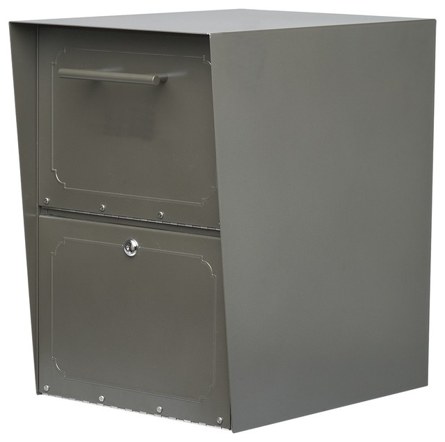Oasis Locking Post Mount Drop Box Bronze traditional-mailboxes
