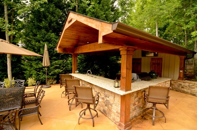 Cabana Outdoor Living Space - Traditional - Patio ...