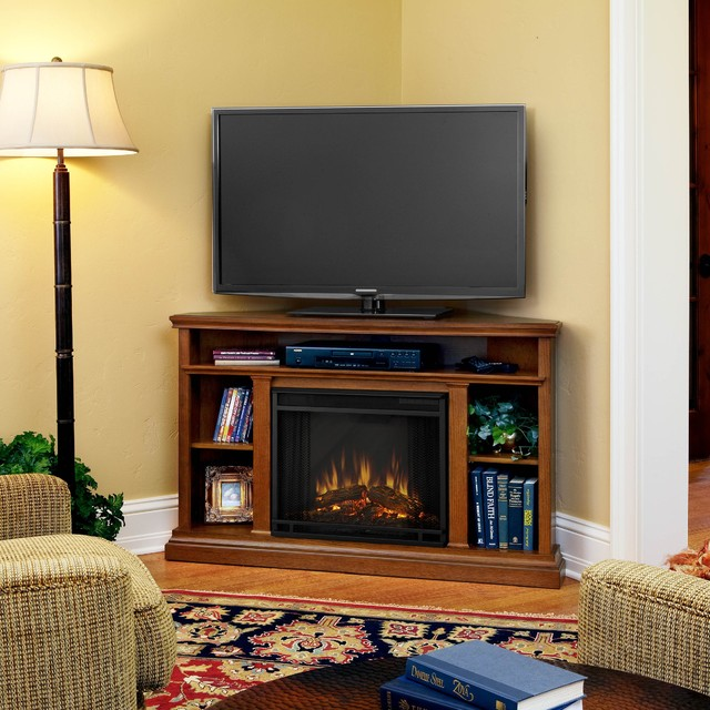 Real flame oak churchill corner electric fireplace for Indoor corner fireplace