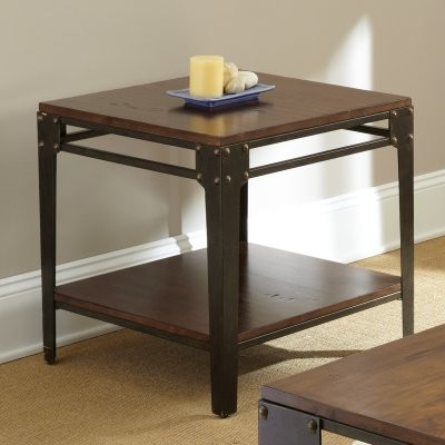 Steve Silver Barrett Square Distressed Tobacco Wood And Metal End Table Mod