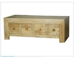 Dakota DVD Trunk Coffee Table with 8 Drawers Oak Shade contemporary-coffee-tables