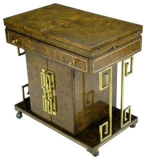 Mastercraft Rolling Bar Cart In Burled Amboyna And Brass - Eclectic - Bar Carts - by 1stdibs