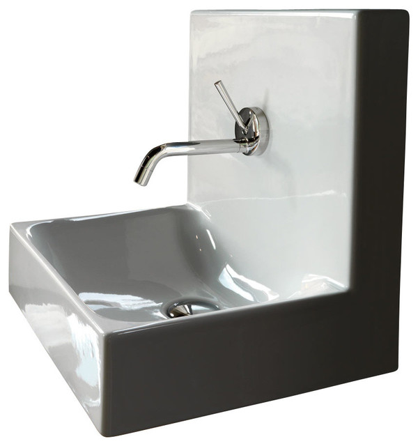 """Cento 3540 Wall Hung or Counter Top Ceramic Sink 15.7"""" x 13.8"""" contemporary-bathroom-sinks"""
