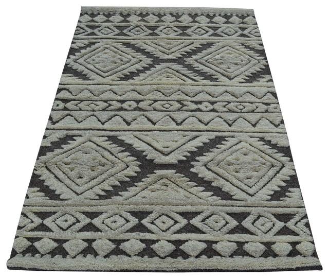 Modern moroccan berber hand knotted 100 wool oriental rug for Wool berber area rug