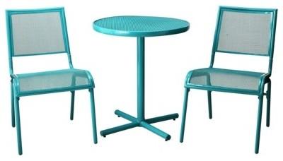 Room Essentials Lasalle Three Piece Mesh Patio Bistro Furniture Set Turquoise Contemporary