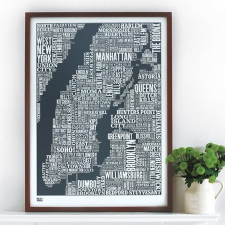 New York Type Map in Sheer Slate modern artwork