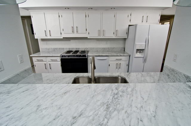 White Carrara Marble - Modern - Kitchen Countertops - dc metro - by Granite Grannies