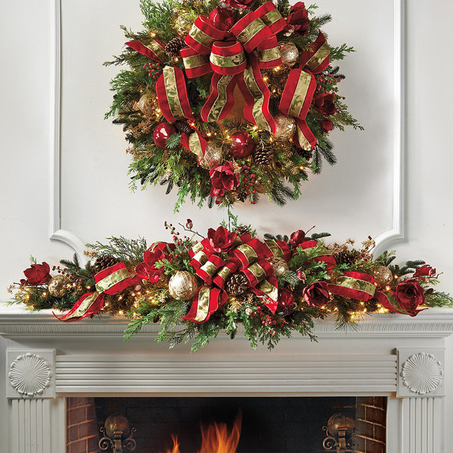 Christmas joy decorated pre lit mantle swag frontgate for Christmas swags and garlands to make