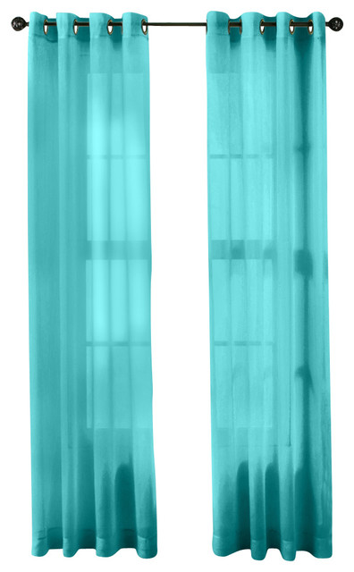 Window curtain grommet panels aqua blue teal traditional curtains
