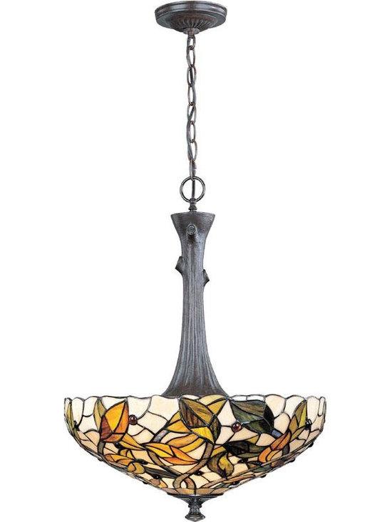Joshua Marshal - Dark Bronze Stained Glass Tiffany Two Light Bowl Pendant - Finish: Dark Bronze