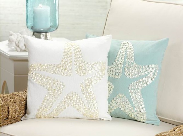 Starfish Design Throw Pillow with Mother of Pearl Button Design in Off-White traditional-decorative-pillows
