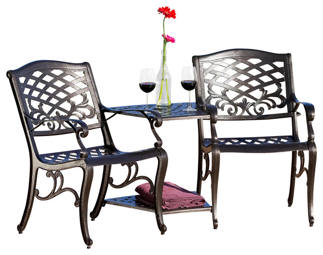 Prague outdoor cast aluminum 2 seater set contemporary for Great deals on outdoor furniture