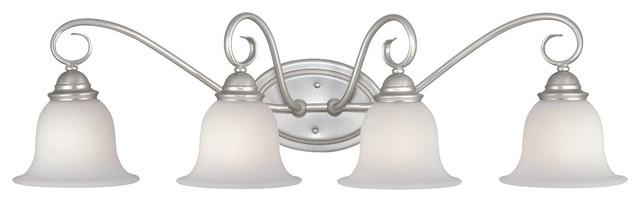 Picasso Brushed Nickel 4 Light Vanity traditional-bathroom-vanity-lighting