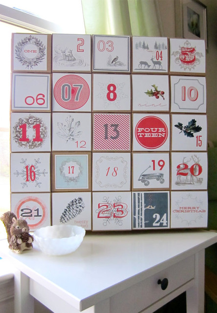 Advent calendar vintage style decoration by vintage modern for Advent calendar decoration