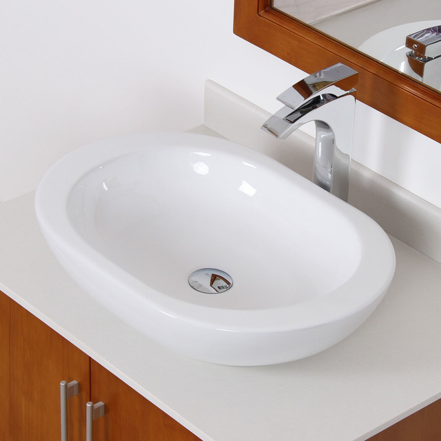 Elite Bathroom Sinks : Elite White Ceramic Oval Bathroom Sink - Contemporary - Bathroom Sinks ...