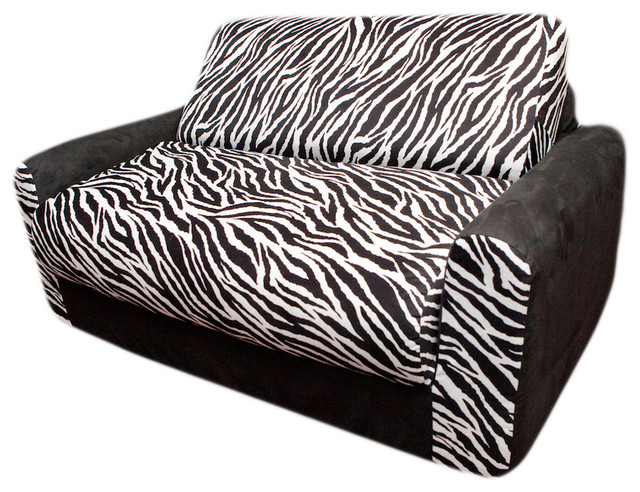 Fun furnishings zebra sofa sleeper with pillows in black for Zebra sectional sofa