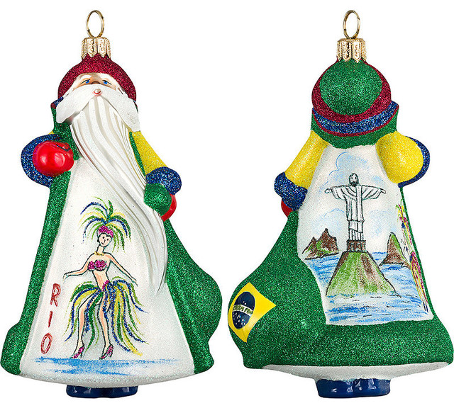 Christmas Ornaments From Brazil : Glitterazzi international brazil santa christmas ornament