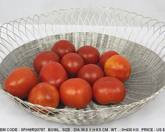 Handwoven Wire Tableware-Stainless Steel - High Quality Nickel Finish Handwoven Wire Bowl