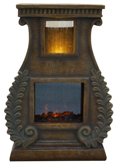 Fire Fountain w LED Lights and Square Fire Bo contemporary-indoor-fountains