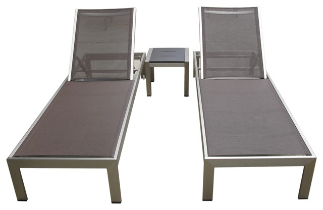 Outdoor aluminum textilene pool lounge resin 3 piece chair - Chaise aluminium exterieur ...