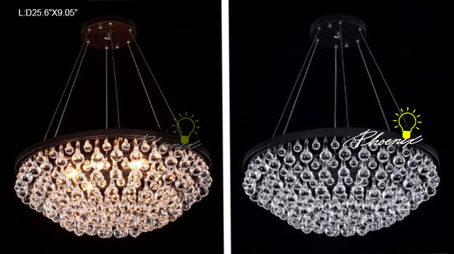 Crystal and Iron Pendant lighting in painted Finish contemporary-pendant-lighting