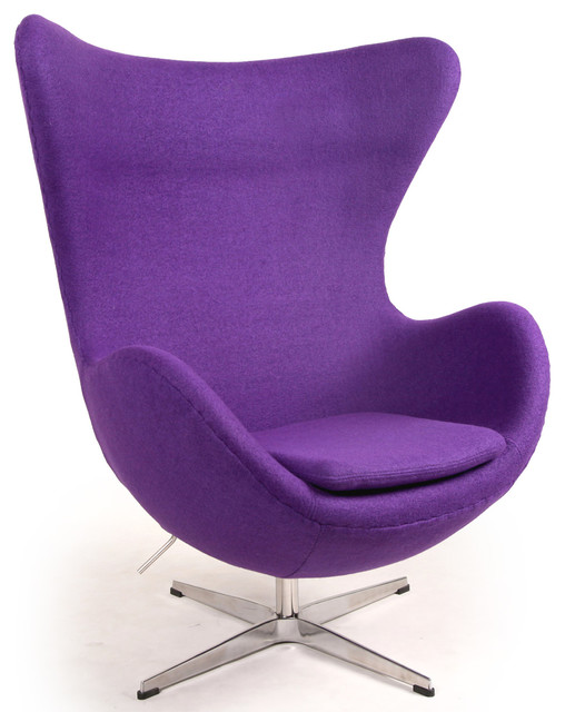 Kardiel Egg Chair, Purple Boucle Cashmere Wool modern-living-room-chairs
