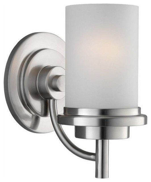 Bathroom Wall Sconces Polished Nickel : 1-Light Wall / Bath Brushed Nickel - Contemporary - Bathroom Vanity Lighting - by PLFixtures
