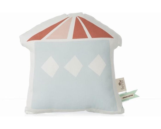 Ferm Living Organic The Village 2 Pillow - Create your own little town with the stuffed Village Cushions by Ferm Living. There are four different houses to choose from – each house has a light blue back and is made of organic cotton.