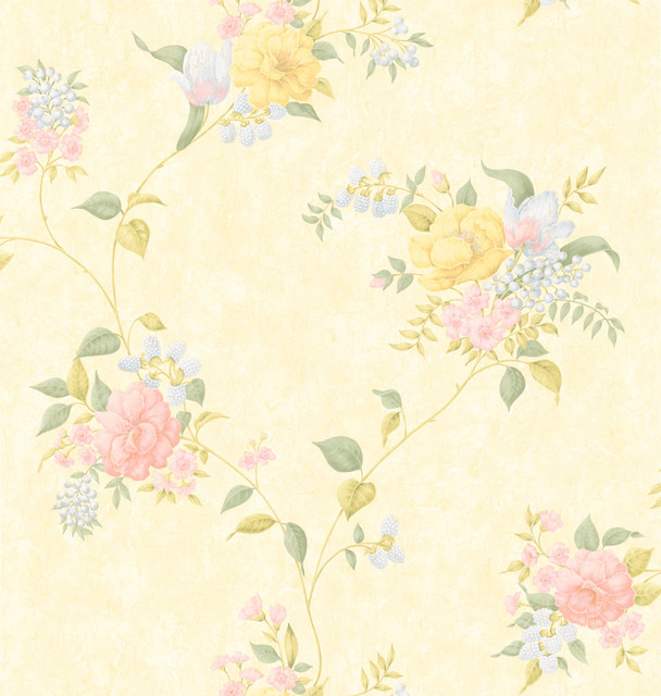 Brewster Light Yellow Floral Trail Wallpaper