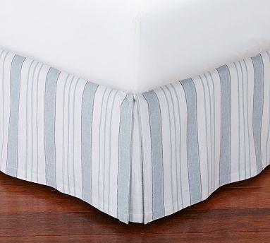 everdell stripe pleated bed skirt blue