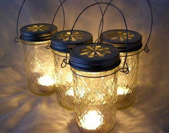 Four Glass Quilted Mason Jar Lanterns Candle Holder Outdoor Lighting traditional-outdoor-lighting