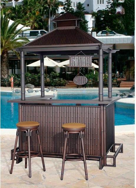 Sunjoy Patio Bars Oasis 3-Piece Patio Tiki Bar Set L ...