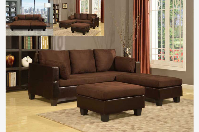 Brown soft microfiber leather sectional sofa reversible for Brown microfiber chaise lounge