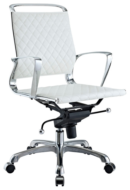 Vibe Modern Leather Midback Office Chair in White modern-task-chairs