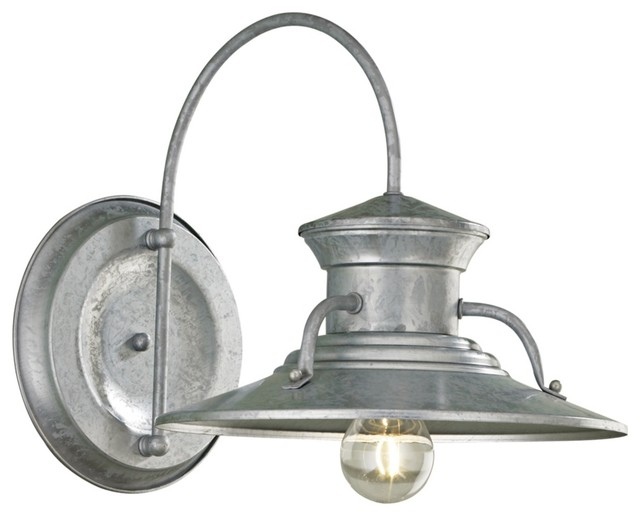 """Country - Cottage Budapest 12"""" Wide Galvanized Outdoor Wall Light traditional-outdoor-lighting"""