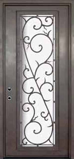 Bellagio 42x96 wrought iron single door 14 gauge steel for 14 gauge steel door