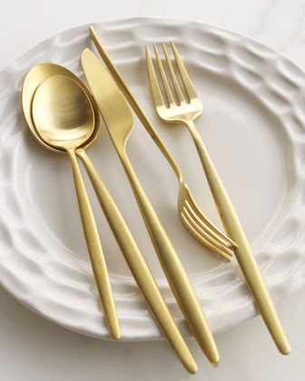 Diane von Furstenberg Home Night Five-Piece Gold-Tone Place Setting traditional flatware